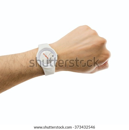man hand showing the wrist watch  - stock photo