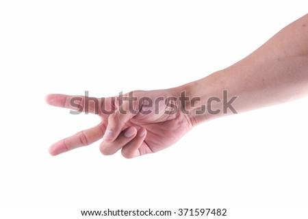 Man hand showing two fingers on a white isolated background - stock photo