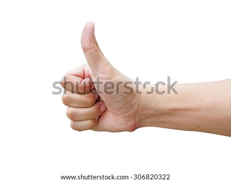 Man hand shows thumbs up on white background