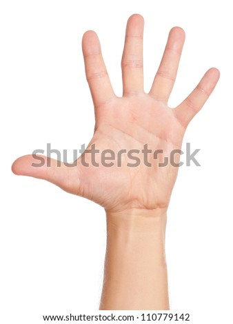 Man hand sign isolated on white background - stock photo