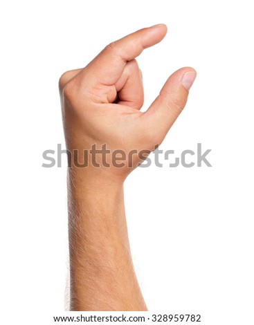 Man hand sign isolated on white background