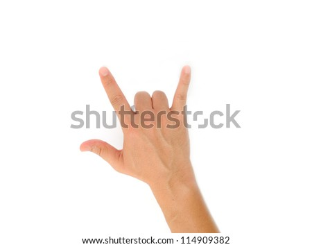 Man Hand Symbol with isolated white background - stock photo
