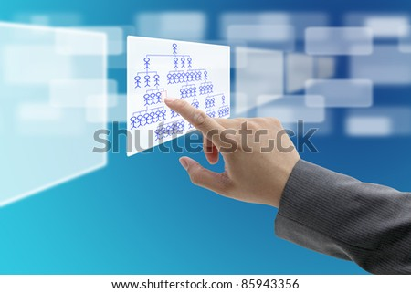 man hand touch on vacant position in organization chart for Job Seeking concept - stock photo