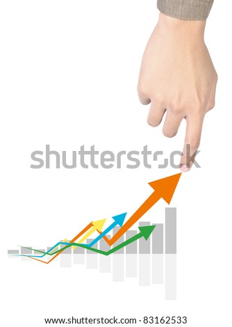 man hand touching  graphs on white - stock photo