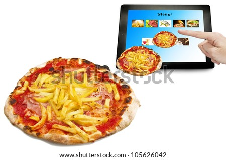 man hand touching on a tablet pc for take away - stock photo