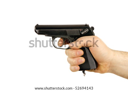 man hand with a  gan isolated background - stock photo