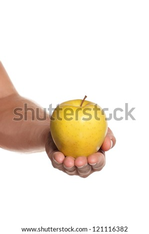 Man hand with apple isolated on white background