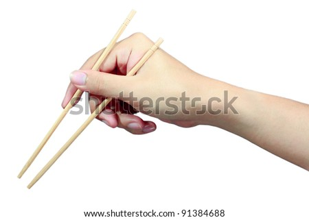 man hand with chopsticks isolated on white