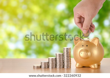 man hand with coins plan to saving money with gold piggy bank green leave nature bokeh background - stock photo