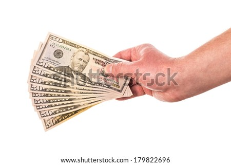 Man hand with dollars isolated on a white background - stock photo