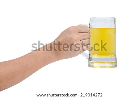 man hand with glass of beer isolated on a white background - stock photo