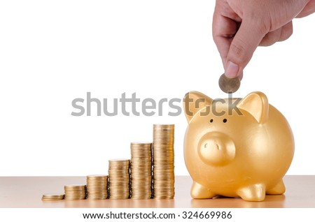 man hand with gold coins plan to saving money with gold piggy bank isolated on white background - stock photo