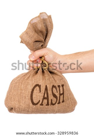 Man hand with money bag, isolated on white background - stock photo