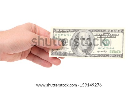 Man hand with money. Isolated on a white background. - stock photo