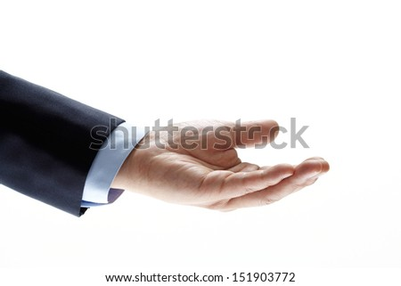 man hand with palm up in a white isolated background - stock photo