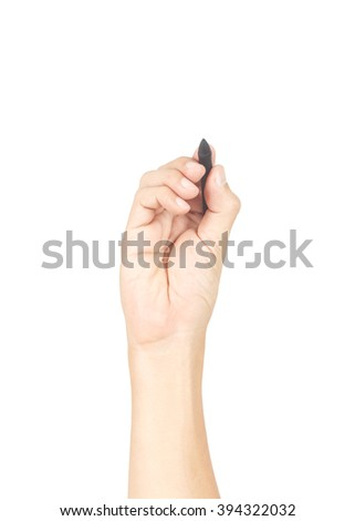 Man hand with pen isolated on white background, clipping path inside - stock photo