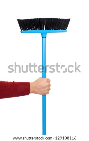 Man hand with plastic broom, isolated on white background
