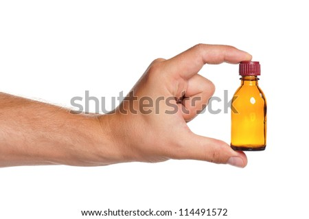 Man hand with small bottle isolated on white background