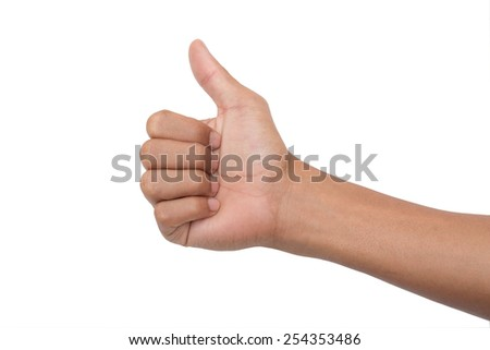 Man hand with thumb up isolated on white background - stock photo