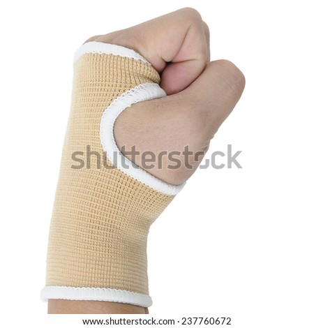 Man hand with wrist-support protection on white background, body action.
