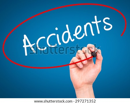 Man Hand writing Accidents with black marker on visual screen. Isolated on blue. Business, technology, internet concept. Stock Photo - stock photo