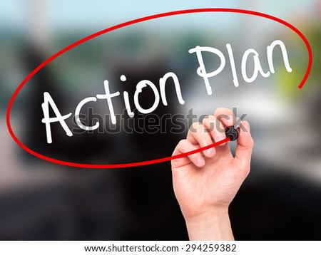 Man Hand writing Action Plan with black marker on visual screen. Isolated on white. Business, technology, internet concept. Stock Photo - stock photo