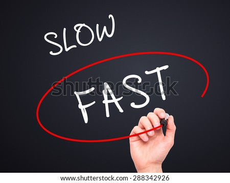 Man Hand writing and Choosing Fast instead of Slow with black marker on visual screen. Isolated on black. Business, technology, internet concept. Stock Image - stock photo