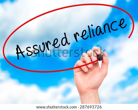 Man Hand writing Assured reliance with black marker on visual screen. Isolated on sky. Business, technology, internet concept. Stock Image - stock photo