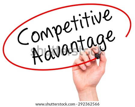 Man Hand writing Competitive Advantage with black marker on visual screen. Isolated on white. Business, technology, internet concept. Stock Image - stock photo
