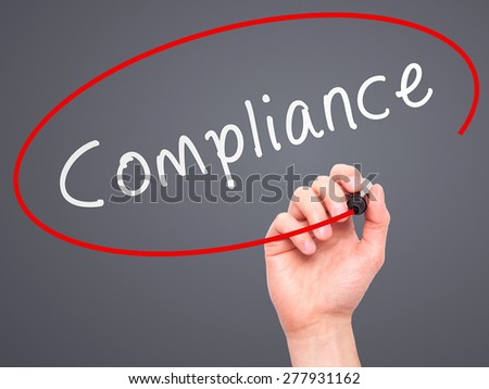 Stock Photo Man Hand Writing Compliance With Marker On Transparent Wipe Board Isolated On Grey Business on Polka Steps Diagram