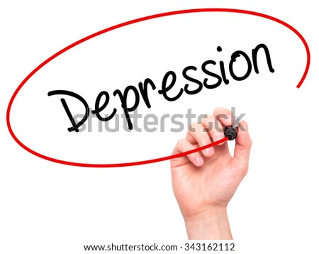 Man Hand writing Depression  with black marker on visual screen. Isolated on white. Business, technology, internet concept. Stock Photo - stock photo
