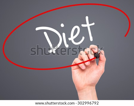 Man Hand writing Diet (in Portuguese)  with black marker on visual screen. Isolated on grey. Business, technology, internet concept. Stock Photo