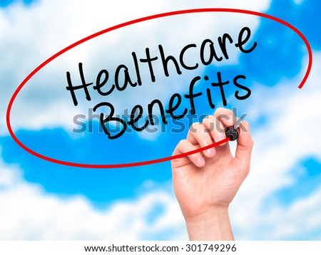 Man Hand writing Healthcare Benefits with black marker on visual screen. Isolated on sky. Business, technology, internet concept. Stock Photo - stock photo