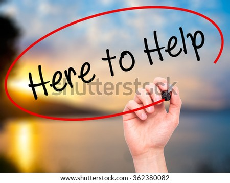 Man Hand writing  Here to Help with black marker on visual screen. Isolated on background. Business, technology, internet concept. Stock Photo - stock photo