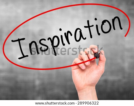 Man Hand writing Inspiration with black marker on visual screen. Isolated on grey. Business, technology, internet concept. Stock Image - stock photo