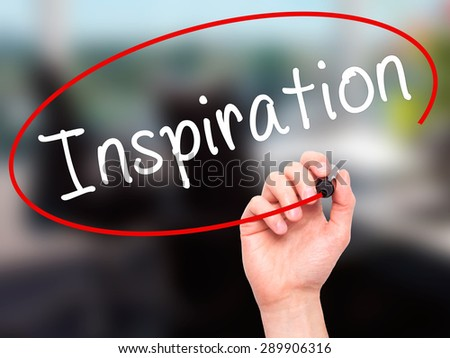 Man Hand writing Inspiration with black marker on visual screen. Isolated on office. Business, technology, internet concept. Stock Image - stock photo