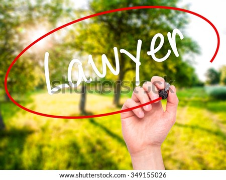Man Hand writing Lawyer with black marker on visual screen. Isolated on background. Business, technology, internet concept. Stock Photo - stock photo