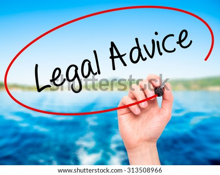Man Hand writing Legal Advice with black marker on visual screen. Isolated on nature. Business, technology, internet concept. Stock Photo - stock photo