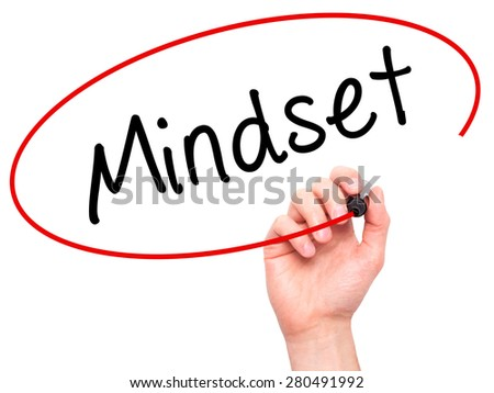 Man Hand writing Mindset with marker on transparent wipe board isolated on white. Business, internet, technology concept. Stock Photo - stock photo