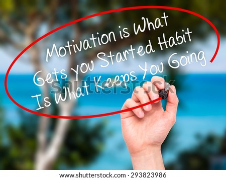 Man Hand writing Motivation is What Gets you Started Habit Is What Keeps You Going with black marker on visual screen. Isolated on nature. Business, technology, internet concept. Stock Photo - stock photo