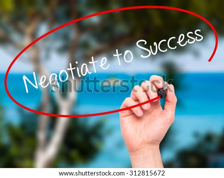 Man Hand writing Negotiate to Success with black marker on visual screen. Isolated on nature. Business, technology, internet concept. Stock Photo - stock photo
