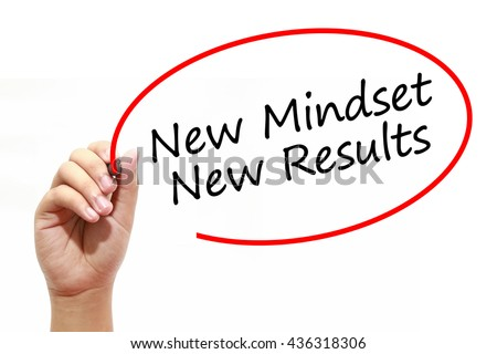 Man Hand writing New Mindset New Results with marker on transparent wipe board. Business, internet, technology concept. - stock photo