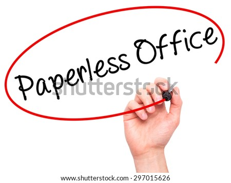 Man Hand writing Paperless Office  with black marker on visual screen. Isolated on white. Business, technology, internet concept. Stock Photo - stock photo