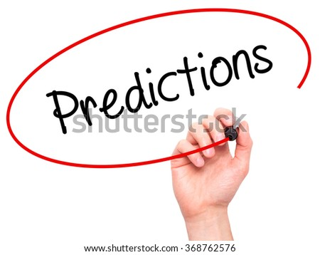 Man Hand writing Predictions  with black marker on visual screen. Isolated on background. Business, technology, internet concept. Stock Photo - stock photo