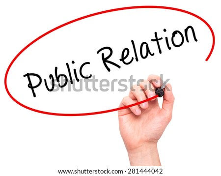 Man Hand writing Public Relations with marker on transparent wipe board isolated on white. Business, internet, technology concept. Stock Photo - stock photo