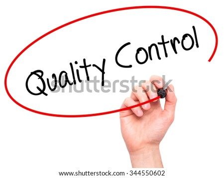 Man Hand writing Quality Control with black marker on visual screen. Isolated on background. Business, technology, internet concept. Stock Photo - stock photo