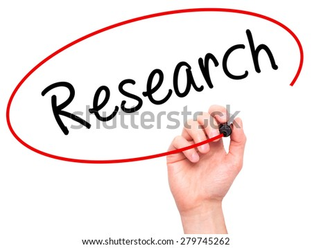 Man Hand writing Research with marker on transparent wipe board. Isolated on white. Business, internet, technology concept. Stock Photo - stock photo