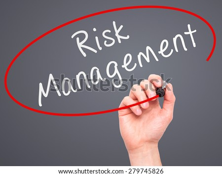 Man Hand writing Risk Management with marker on transparent wipe board. Isolated on grey. Business, internet, technology concept. Stock Photo