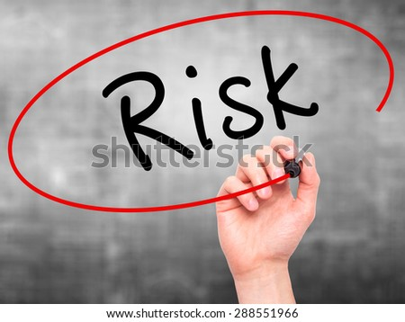 Man Hand writing Risk with black marker on visual screen. Isolated on grey. Business, technology, internet concept. Stock Image