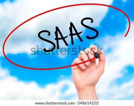 Man Hand writing SAAS with black marker on visual screen. Isolated on background. Business, technology, internet concept. Stock Photo - stock photo